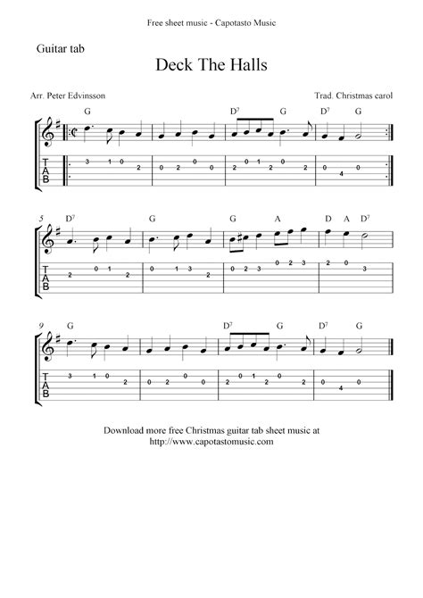 deck the halls free easy guitar tablature sheet score