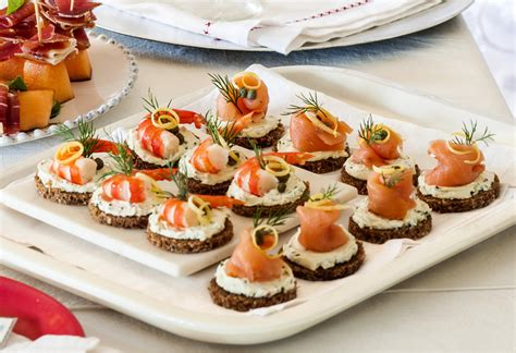 canape s smoked salmon prawn canapés recipe foodiful