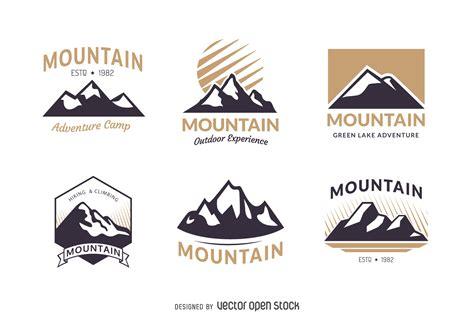 mountain badge logo template set free vector