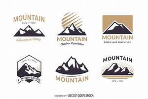 Mountain badge logo template set - Free Vector