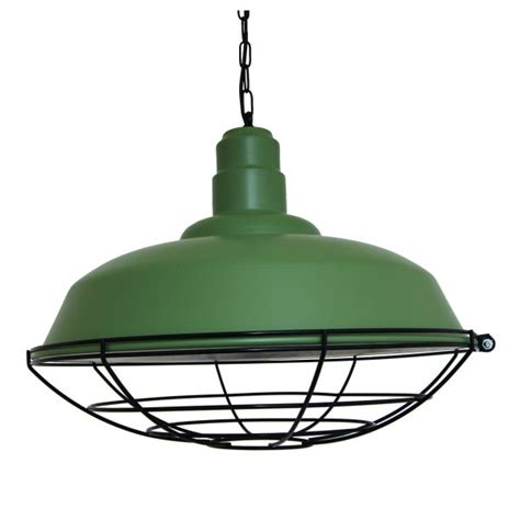 green industrial cage pendant light
