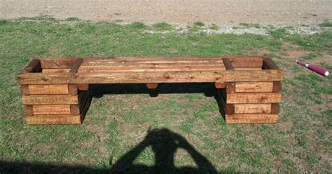 foot bench double planter landscaping timber planters