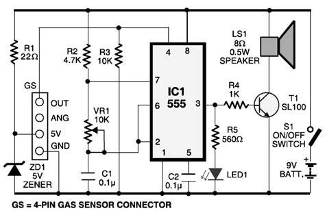 Lpg Gas Leakage Sensor Alarm Circuit Scheme