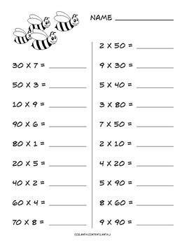 multiplying multiples of 10 common worksheet by math