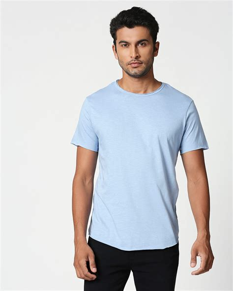 Pastel Sky Blue Raw Edge Halfsleeve T-Shirt