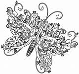 Coloring Adult Printable Butterfly Complex Geometric Sheets Difficult Popular Colouring Adults sketch template