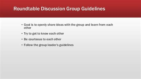 Conversation Roundtable Template by Vendor Guidelines Instructions For Presentation And Workshop