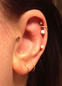 Thin hoops. Tragus. Triple helix. Opals. Mid-cartilage ...