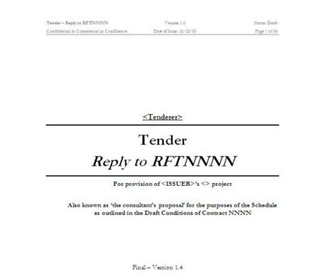 Rft Template by Rft 16790 Template For Tender Docdownload