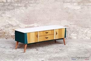Commode Bleu Canard : meuble tv vintage r nov bleu canard et blanc vintage scandinave ~ Teatrodelosmanantiales.com Idées de Décoration