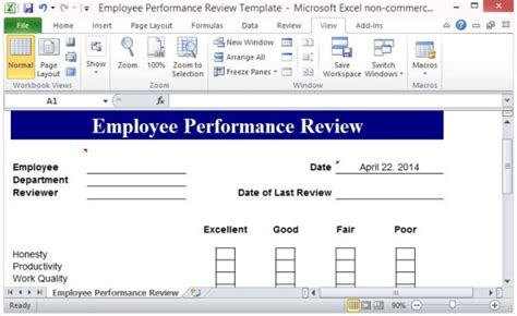 employee evaluation form exle free performance review template form for word 2007