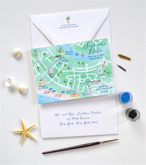 save  date maps custom wedding maps watercolor florida