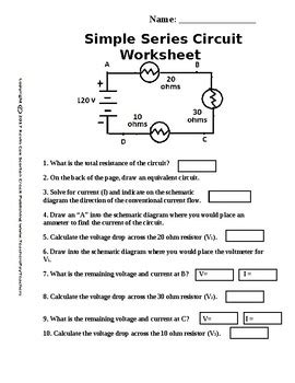 Simple Circuit Series Worksheet By Scorton Creek Publishing  Kevin Cox