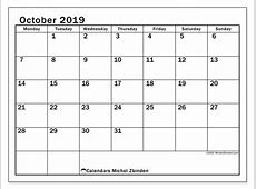 Calendar October 2019 50MS Michel Zbinden en