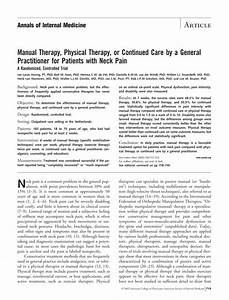 Pdf  Manual Therapy  Physical Therapy  Or Continued Care