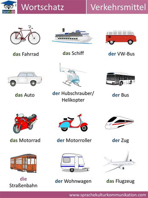 wortschatz verkehrsmittel deutsch lernen und