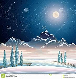 Winter night landscape stock illustration. Image of cold ...