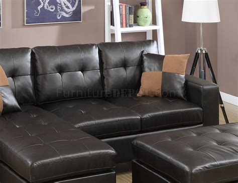 Espresso Leather Loveseat by F6927 Sectional Sofa In Espresso Bonded Leather By