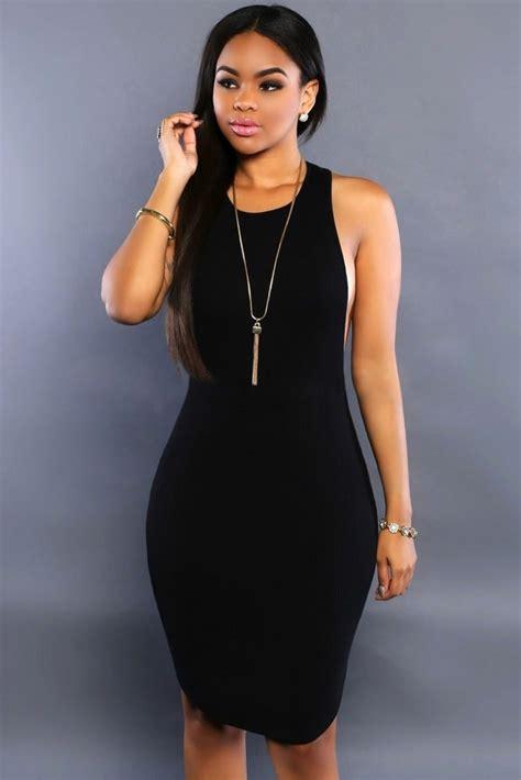 black daring bodycon sleeveless midi length dresses