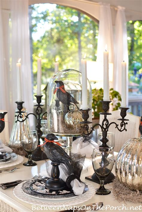 halloween table setting tablescape  mercury glass