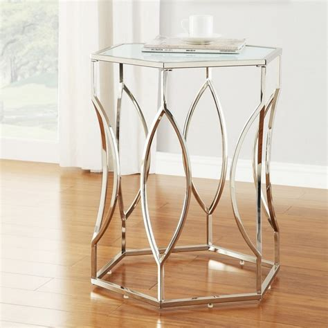 frosted glass end table hexagonal metal frosted glass accent end table