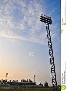 Football stadium floodlights stock image