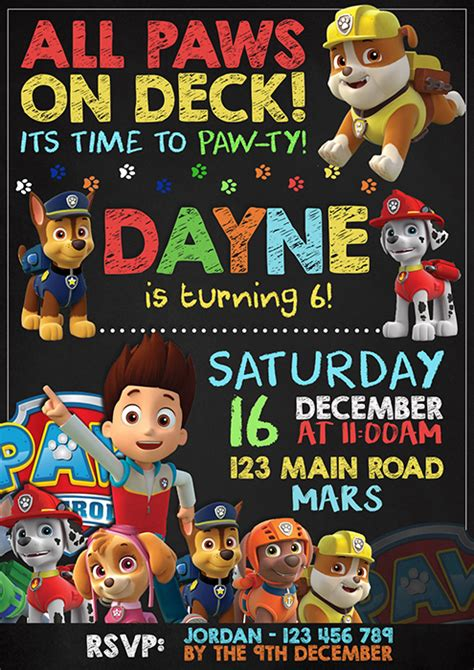 chalkboard design paw patrol party invitation mixed design