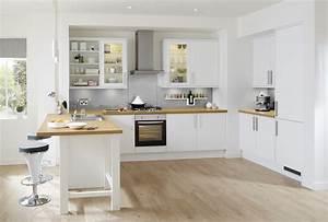 Plan De Travail De Cuisine : cuisine blanche avec plan de travail bois fashion designs ~ Edinachiropracticcenter.com Idées de Décoration