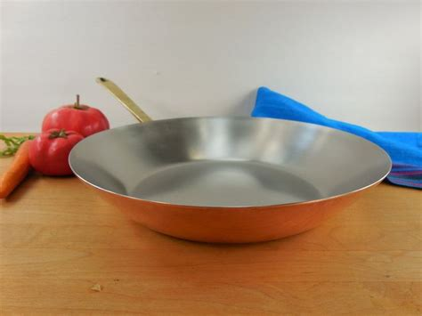 sold paul revere ware signature limited edition copper stainless brass  fry pan open