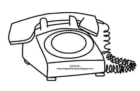 contoh gambar mewarnai telepon rumah