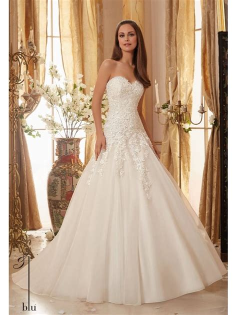 Mori Lee 5470 Dropped Waist Lace Strapless Ball Gown Ivory