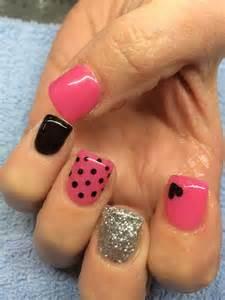 Pink balck nail design with hearts polka dots