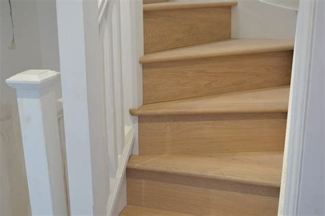 oak news light wood flooring straicase cladding  london
