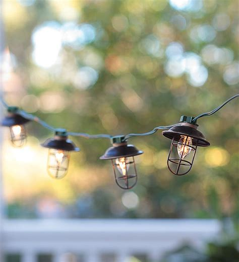 indoor outdoor electric metal lantern string lights