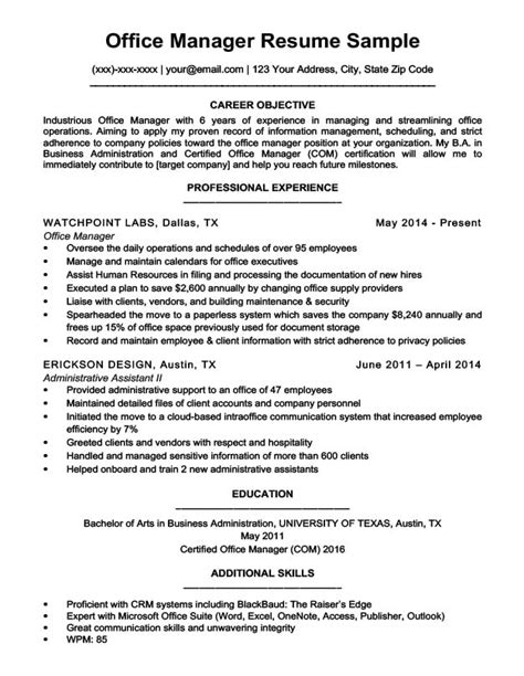 office manager resume sle resume companion