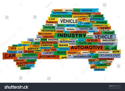 Cloud Words Describing Automotive Industry Presented Stock