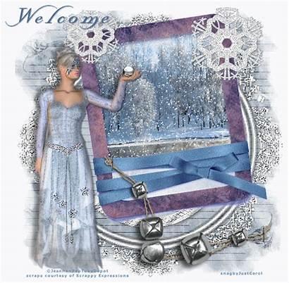 Elegant Welcome Winter Snow Scene Animated Falling
