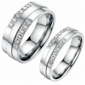 his and hers stainless steel crystal coulple ring matching With matching wedding rings his and hers