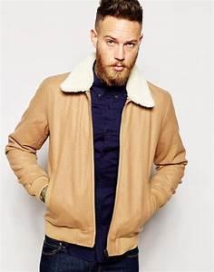 Veste Homme Col Mouton : asos blouson harrington en laine avec col asos pickture ~ Dallasstarsshop.com Idées de Décoration