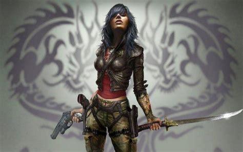 artwork, Women, Sword, Gun, Fantasy Art, Warrior, Dark ...