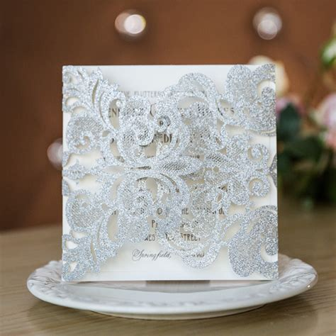 modern silver glittery laser cut wedding invites ewws