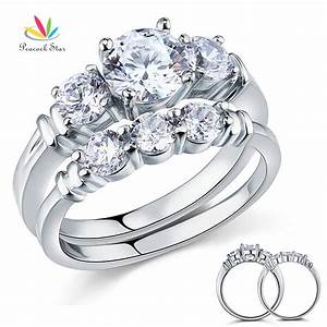 wholesale round cut created diamond 2 pc solid sterling With sterling silver wedding ring sets cheap