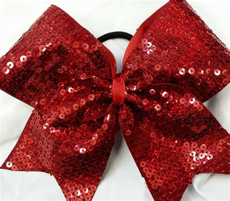 Hologram Sequin Cheer Hair Bow Red Blue Silver Gold Black