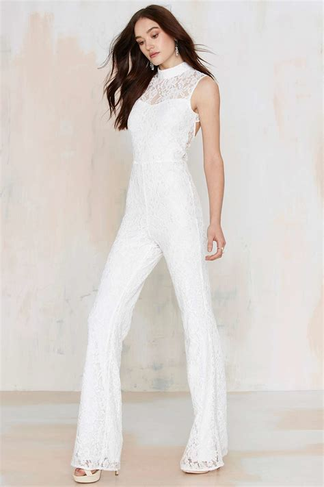 lace jumpsuit white gal lace jumpsuit white in white lyst