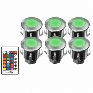 Mini Spot Led Encastrable : spot terrasse piscine rgb 12v led ip67 kit de 6 spot led rgb ~ Dode.kayakingforconservation.com Idées de Décoration