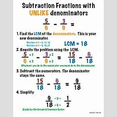 Mini Poster  Subtracting Fractions With Unlike Denominators By Kimberly Senko