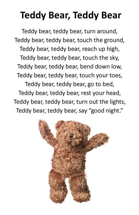 teddy bear songs preschool itty bitty rhyme teddy teddy itty bitty 336