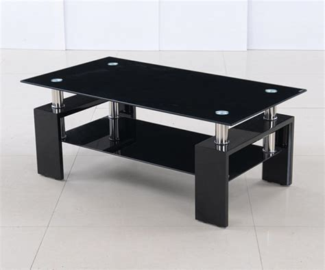 modern black table l glass coffee tables astounding modern small black glass