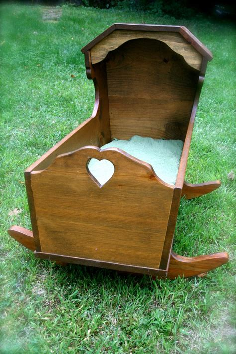 vintage handmade wooden cradle bassinet  brother