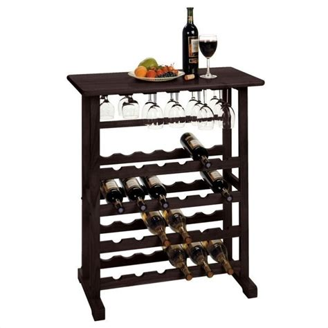 Walmart Dining Table 4 Chairs by Wine Rack And Glass Holder In Dark Espresso 92023